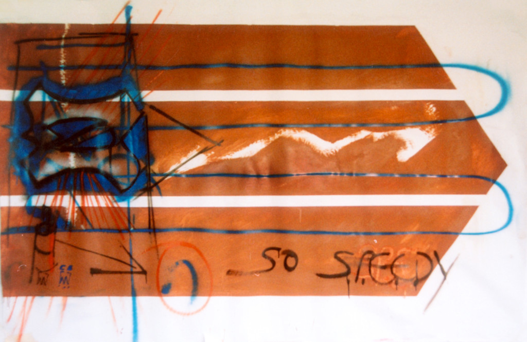 Speed II (1991) - 230cm x 150cm - Emulsion, car spray paint and graphite on on paper