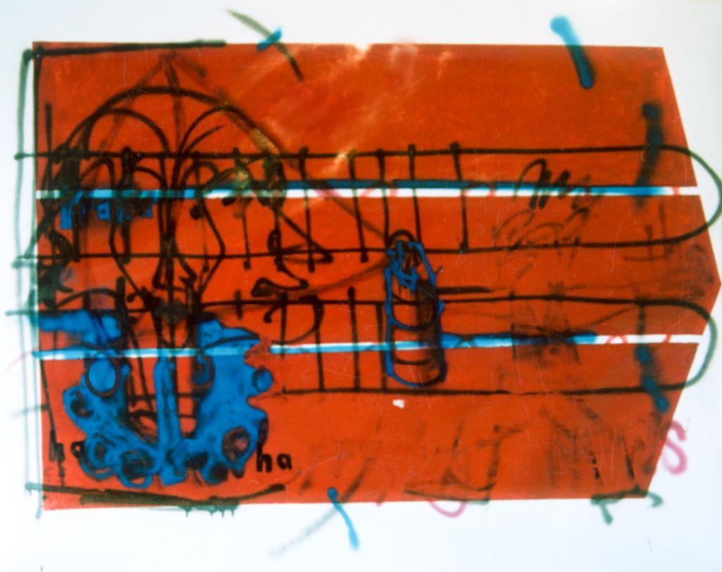 Praha Ha (1991) - 230cm x 150cm - Emulsion, car spray paint and graphite on on paper