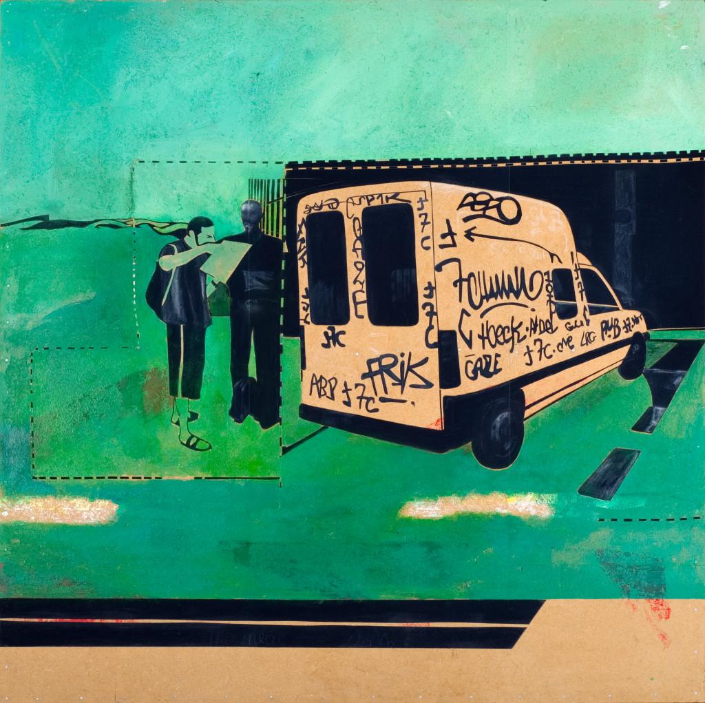 24 - Common Turf (2008) - 120cm x 120cm- velvet, acrylic, mixed media on wooden panel