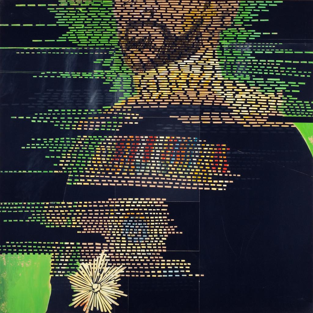 26 - Trois Surfaces I Selassie (2008) - 120cm x 120cm- velvet, acrylic, mixed media on wooden panel