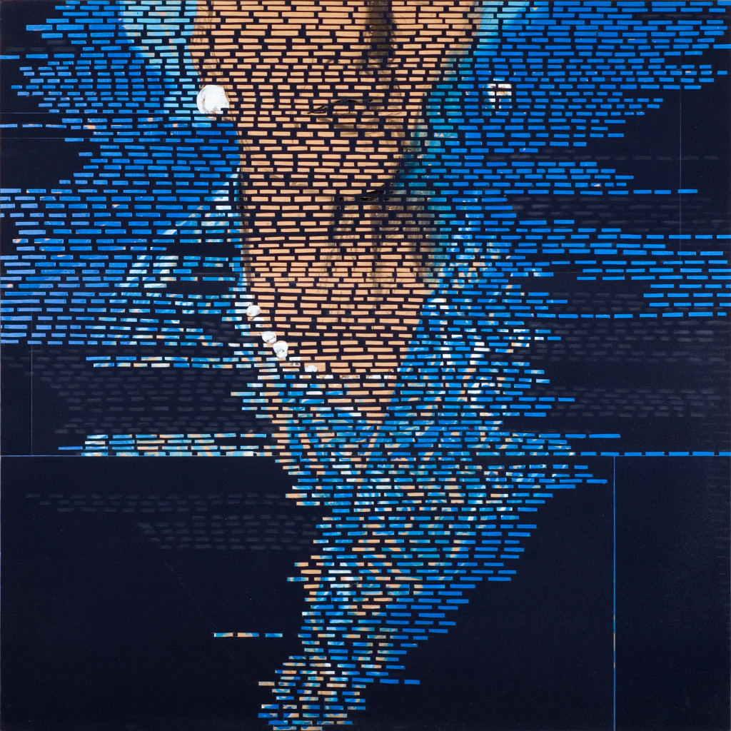 27 - Trois Surfaces I Thatcher (2008) - 120cm x 120cm- velvet, acrylic, mixed media on wooden panel