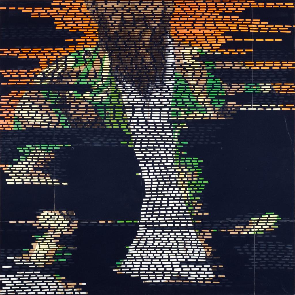 28 - Trois Surfaces I Laden (2008) - 120cm x 120cm- velvet, acrylic, mixed media on wooden panel
