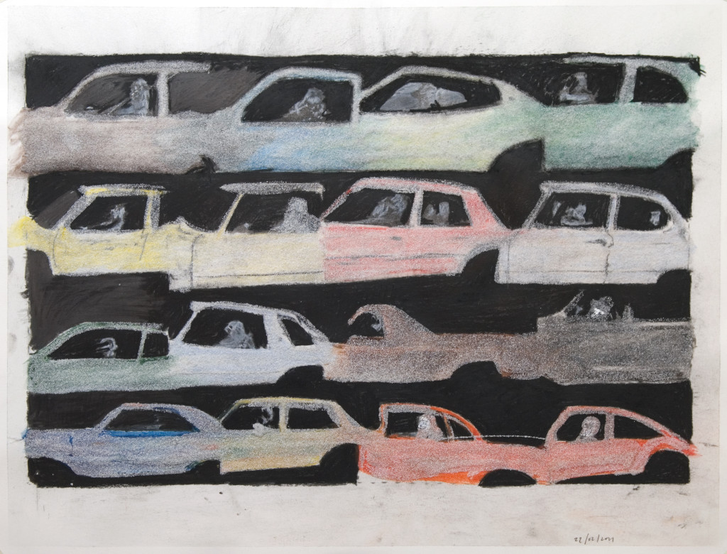 49 - Untitled (2011) - 65cm x 50cm - crayon, charcoal, indian ink and marble sand on paper