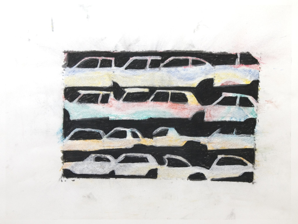 50 - Untitled (2011) - 65cm x 50cm - crayon, charcoal, indian ink and marble sand on paper