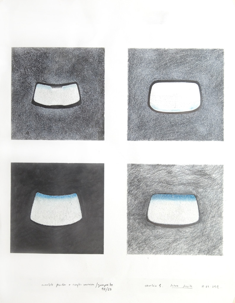 54 - Windscreens (2011) - 50cm x 65cm - charcoal, graphite, pigment and marble sand on paper