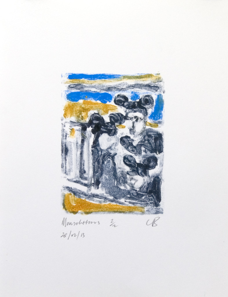 92 - Mouseketeers/8611 (2013) - 25cm x 33cm - monoprint - oil paint on paper