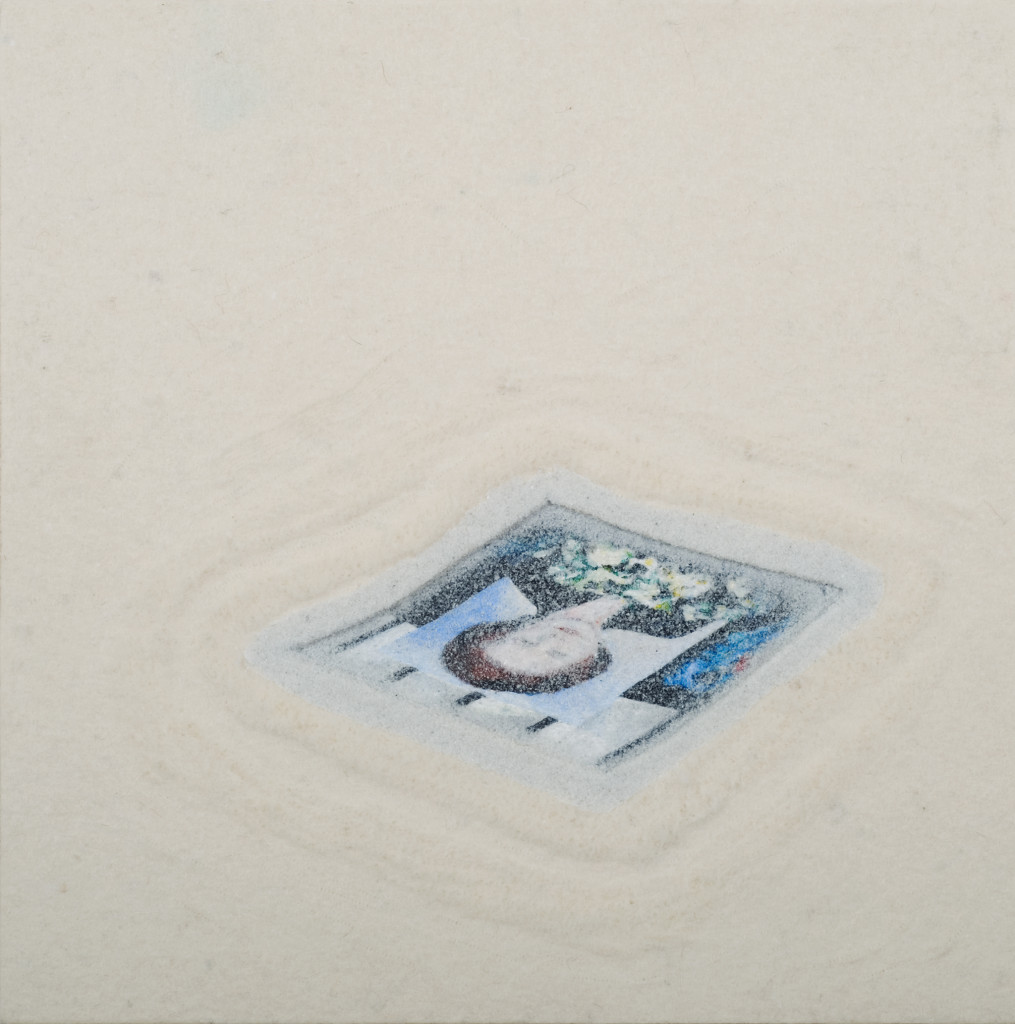 95 - Pavement Memorial (2013) - 35.5cm x 35.5cm - felt, acrylic and marble sand on wooden panel