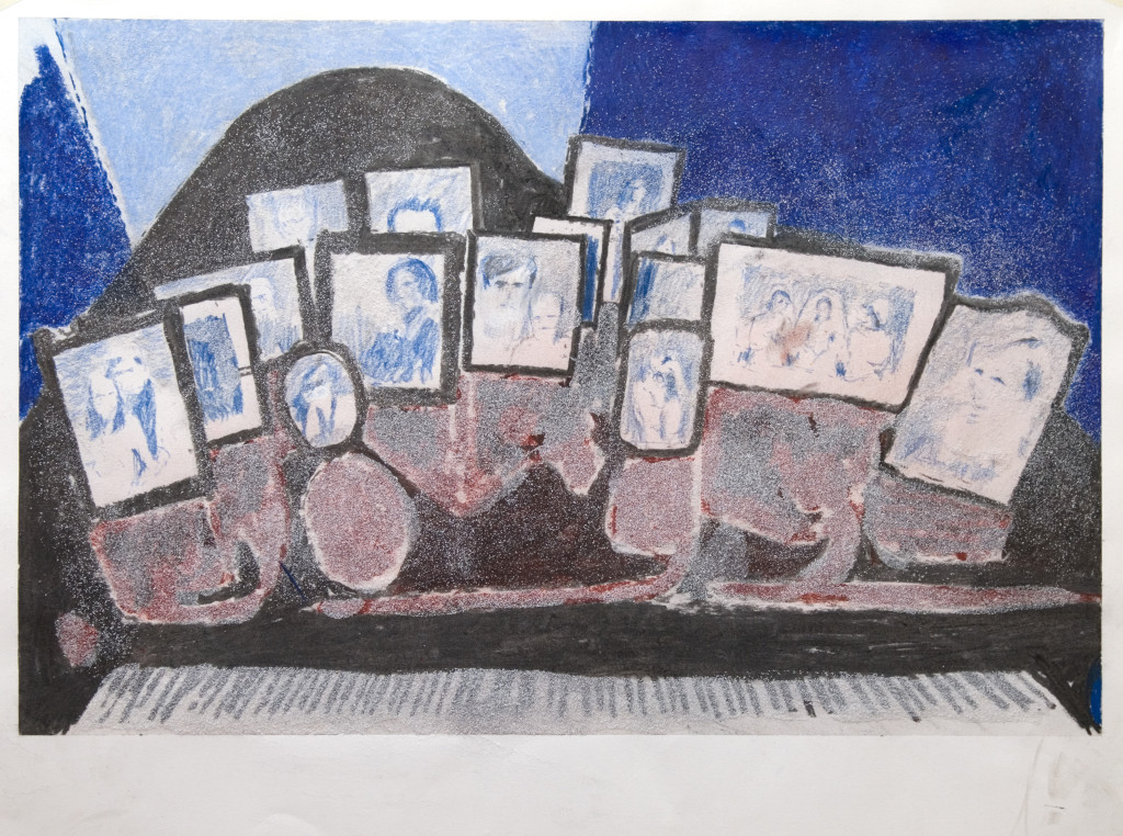 56 - Untitled (2011) - 65cm x 50cm - crayon, charcoal, indian ink and marble sand on paper