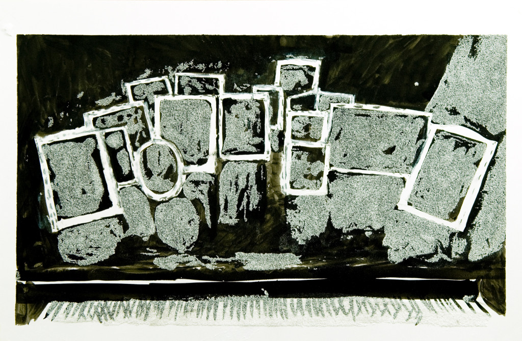 57 - Untitled (2011) - 33cm x 50cm - charcoal, indian ink and marble sand on paper