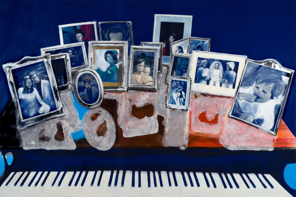59 - Mother's Mother's Piano (2011) - 209cm x 140cm - velvet, acrylic, mixed media and marble sand on wooden panel