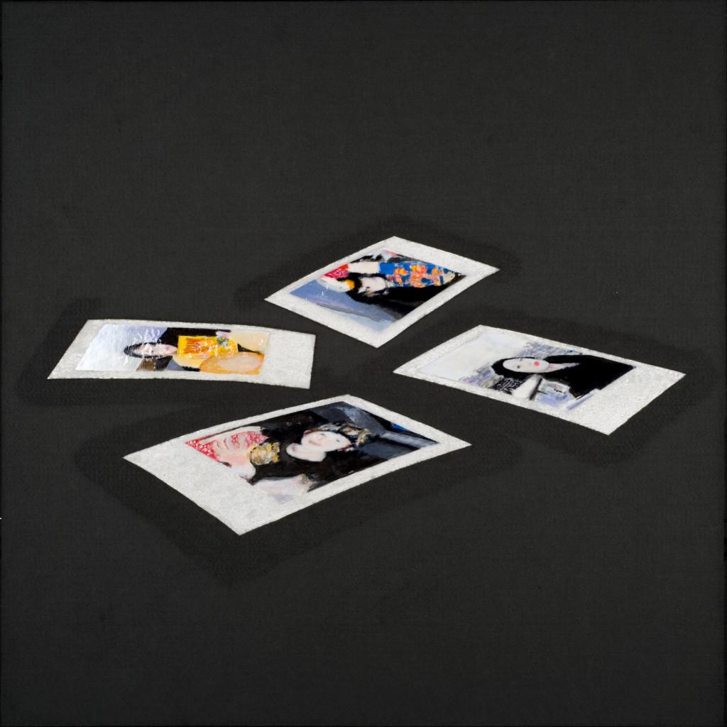 112 - Polaroid Carousel II (2014) - 74.5cm x 74.5cm - felt, acrylic, varnish and marble sand on wooden panel