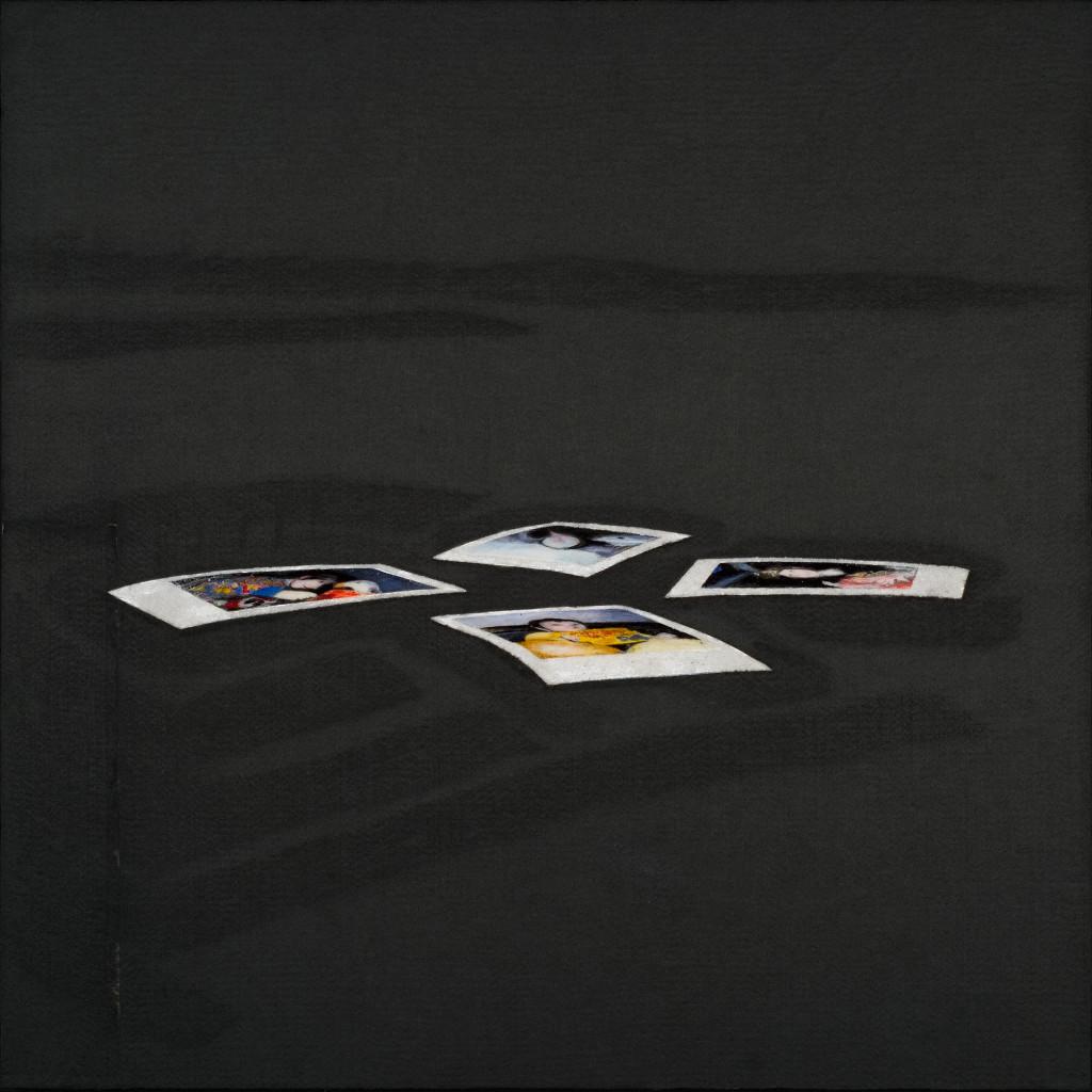 113 - Polaroid Carousel III (2014) - 74.5cm x 74.5cm - felt, acrylic, varnish and marble sand on wooden panel