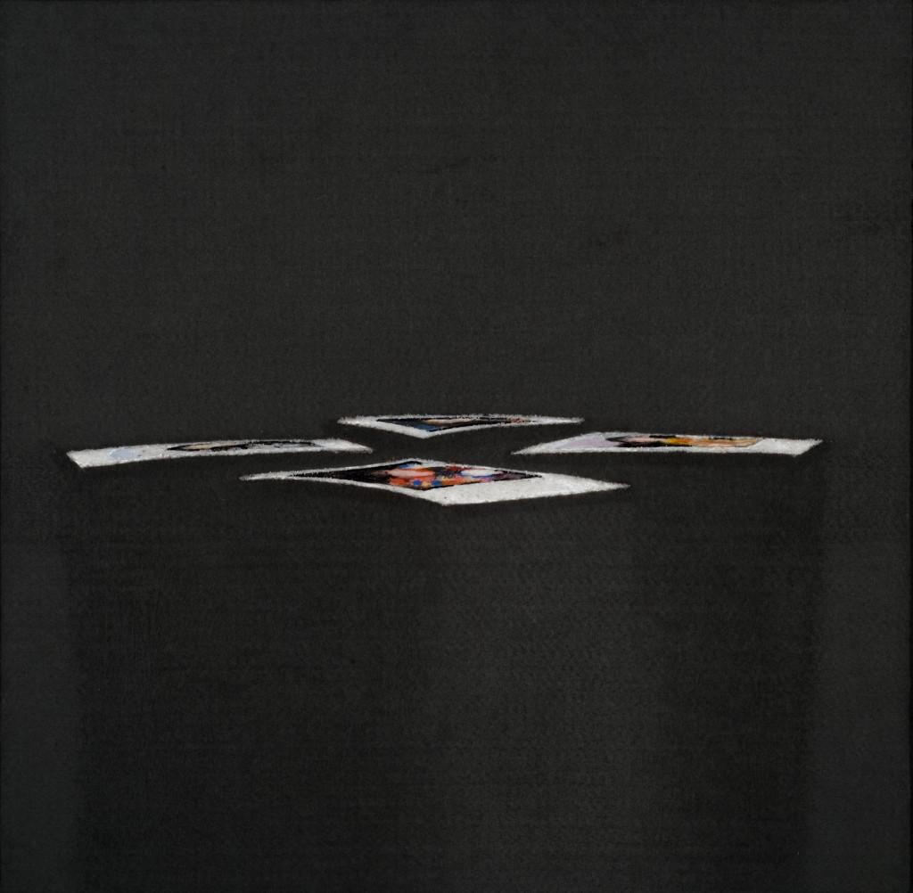 114 - Polaroid Carousel IV (2014) - 46cm x 45cm - felt, acrylic, varnish and marble sand on wooden panel