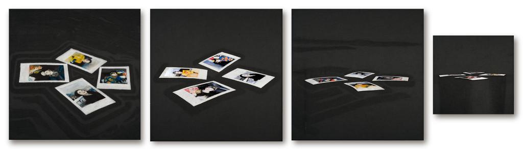 115 - Polaroid Carousel quadriptych (2014) - felt, acrylic, varnish and marble sand on wooden panel