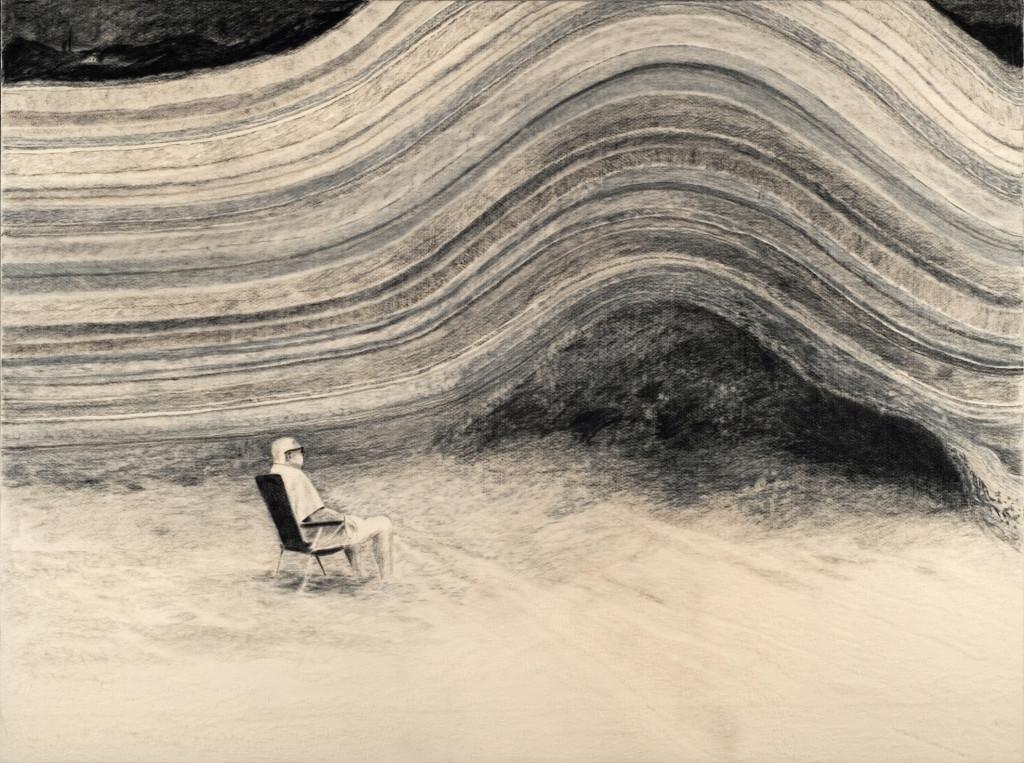 117 - Felixfrompalavas II (2014) - 140cm x 104.5cm - felt, graphite and charcoal on wooden panel