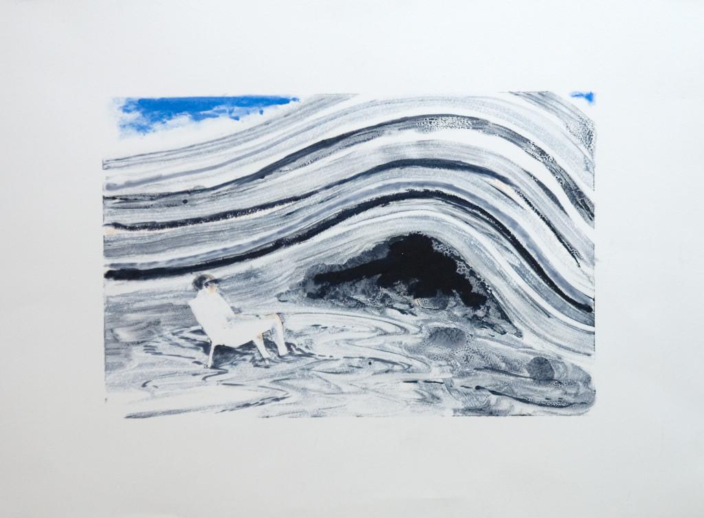 118 - Felixfrompalavas study I (2014) - 23cm x 16.5cm - monoprint with oils on paper