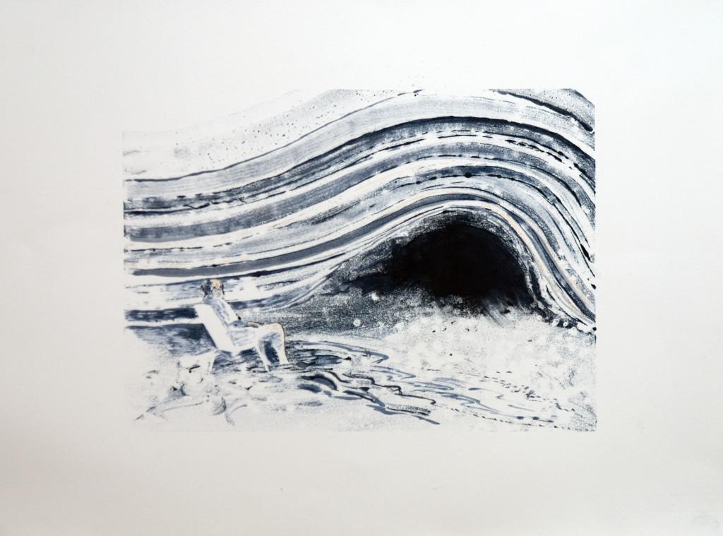 118b - Felixfrompalavas study Ia (2014) - 23cm x 16.5cm - monoprint with oils on paper