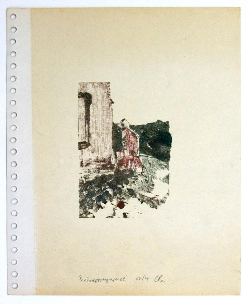 125 - Binnedphotograph01 (2014) - 27.9cm x 23cm - monoprint with oils on old photo album page