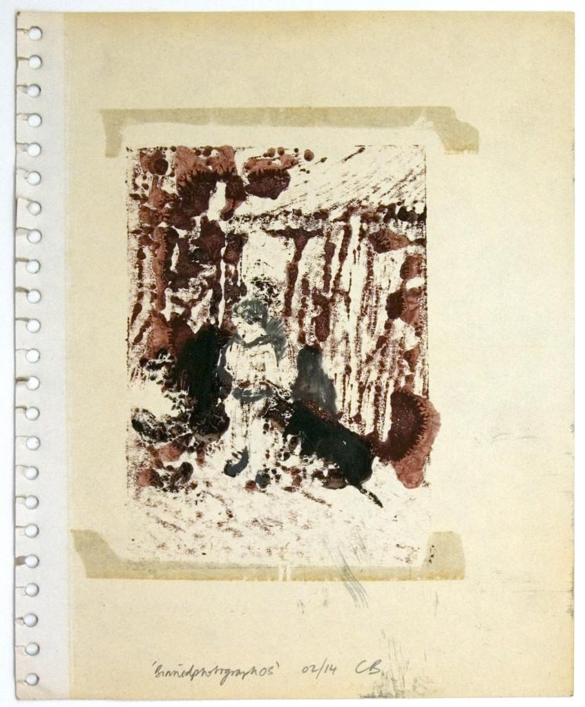 127 - Binnedphotograph03 (2014) - 27.9cm x 23cm - monoprint with oils on old photo album page
