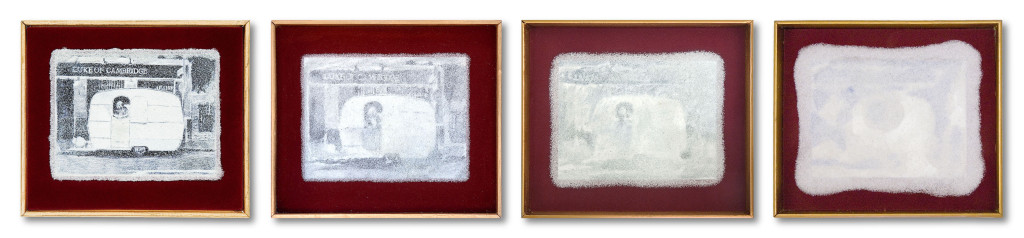 173c_ronsontriptych14 (2011, 2012, 2013, 2014) - 108cm x 23cm - carbon, graphite and marble sand on board with velvet surround